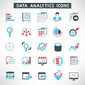 data analytic icons set, data management buttons