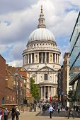 LONDON, UK - JUNE 30, 2014  St  Paul cathedral, view from millennium bridge