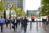 LONDON, UK - JULY 03, 2014  People blur  Office people moving fast to get to work at early morning i