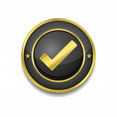 Tick Mark Circular Golden Black Vector Web Button Icon