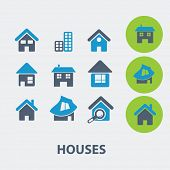 houses, buildings, home, real estate vector set of colorful flat icons, signs, design elements for mobile and web applications.