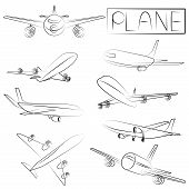 sketched plane icons