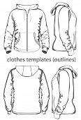 Men's hooded sweatshirt with zipper and pockets (back, front and side view). Outlines. Vector illust