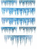 foto of icicle  - blue cold icicles on a white background - JPG