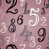 Vector Seamless Pattern with Vintage Numbers