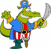 stock photo of peg-leg  - Cartoon illustration of an alligator dressed as a pirate - JPG