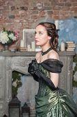 Praying Beautiful Woman In Medieval Dress