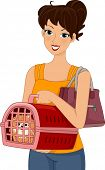 Illustration of a Woman Carrying a Dog in a Pet Carrier