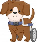Illustration of a Handicapped Dog Attached to a Wheelchair