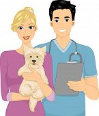 Illustration of a Woman Taking Her Dog to the Veterinarian