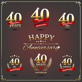 Forty years anniversary signs collection