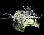 high speed photography broccoli splash in water