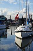image of bayou  - A moored sailboat in Portland Oregon bayou - JPG