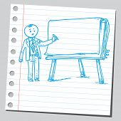 Businessman write on flip chart