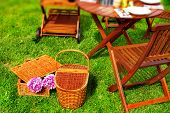 Two Picnic Basket In Grass