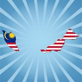 Malaysia map flag on blue sunburst vector illustration