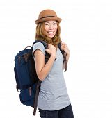 Happy woman with rucksack