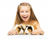 Cute little girl with two guinea pigs. Isolated on white background.