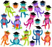 Vector Collection of Brightly Colored School and Graduation Themed Sock Monkeys