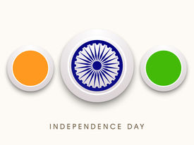 picture of ashoka  - Beautiful icons in Indian National Flag colours with Ashoka Wheel on beige background for Independence Day celebrations - JPG