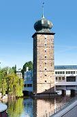 Sitkovska Water Tower And Manes Gallery, Moldau River, Prague (unesco), Czech Republic