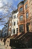stock photo of brownstone  - Famous New York City brownstones in Prospect Heights neighborhood in Brooklyn - JPG