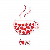 Love Teacup With Hearts. Love Card