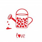 Love Watering Can With Hearts Inside. Card
