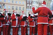 LATVIA, RIGA - DECEMBER 14, 2014: Participants of the seventh annual Riga Santa's Race on Dec. 14, 2