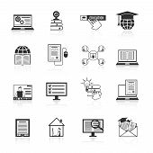 Online Education Icons Black