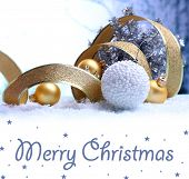 Christmas decorations on light background as greeting card