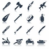 Weapon icons black set