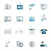 Media icons flat set