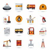 stock photo of fuel economy  - Oil industry petroleum fuel processing transportation and extraction icons set isolated vector illustration - JPG