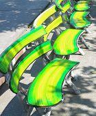 Colorful concrete outdoor seats.