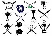 stock photo of trophy  - Set of baseball equipment elements for sport emblems and logo design with bats - JPG