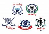 Постер, плакат: Ice hockey emblem symbol set