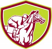 Jockey Horse Racing Shield Retro