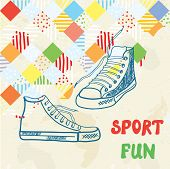 Sport background with sneakers and pattern