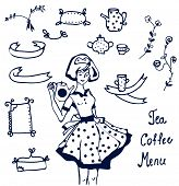 Coffee and tea icons - hand drawn graphics frames
