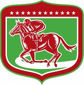 Jockey Horse Racing Side Shield Woodcut