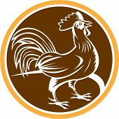Chicken Rooster Side Circle Woodcut