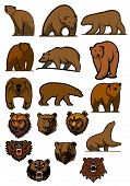 Grizzly or brown bear characters set
