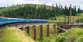 Train Going Across The Bridge In The Carpathians