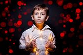 Boy Portrait Whit Christmas Lights
