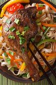 Roasted Duck Leg With Rice Noodles Macro Top View Vertical