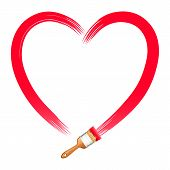 Brush Drawing Red Heart