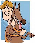 Man And Dog Cartoon Illustration