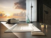 Romantic modern bathroom interior at sunset with a view of a colorful orange sky through a large view window overlooking a sunken bathtub and burning candles. 3D Rendering.