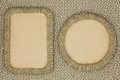 Photo Frames Braided Jute Yarn Knitted Fabric On The Background